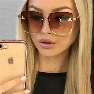 Brown + Gold Square Oversized Rimless Sunglasses